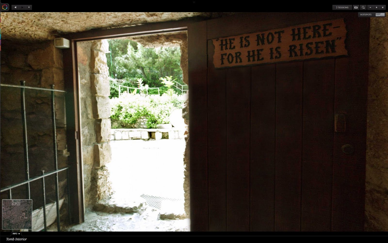 He is not here - tomb sign